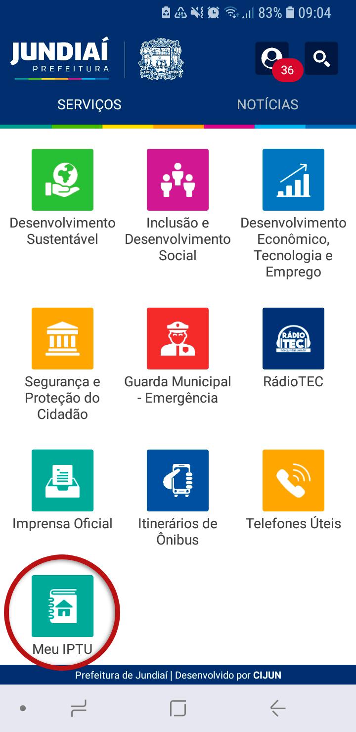Tela do Aplicativo Prefeitura de Jundiaí destacando o ícone Meu IPTU
