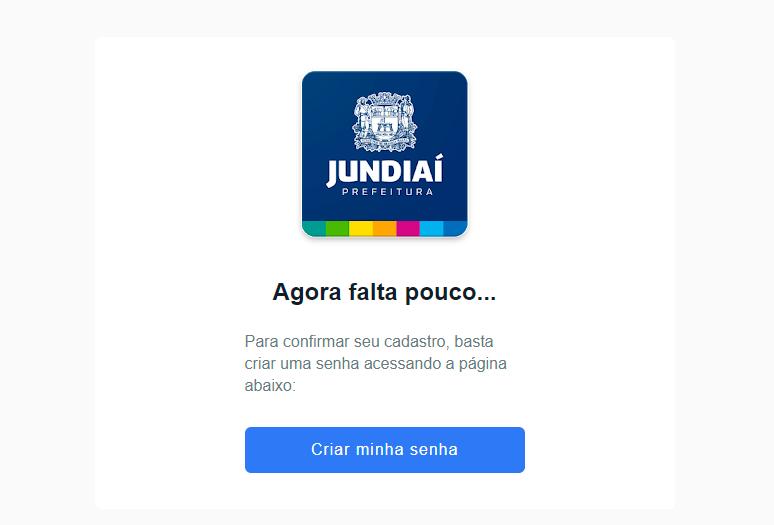 Cópia do e-mail recebido ao solicitar a senha no aplicativo, com o logotipo da prefeitura e o link Criar minha senha