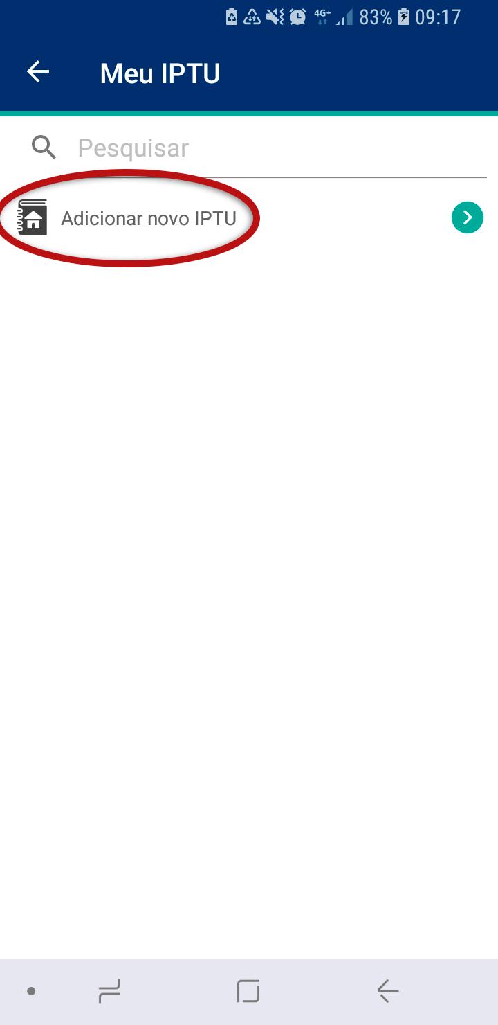 Tela do Aplicativo Prefeitura de Jundiaí destacando o item Adicionar novo IPTU