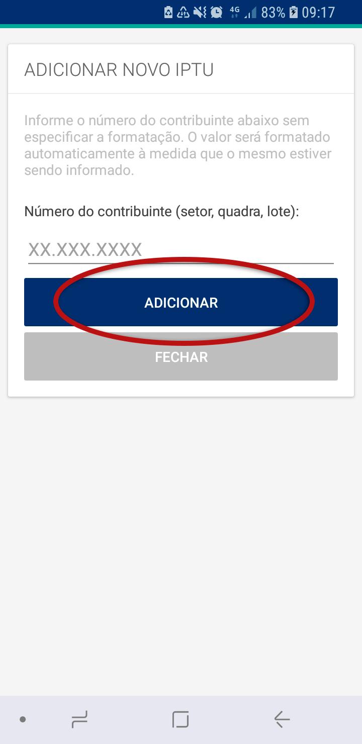 Tela do Aplicativo Prefeitura de Jundiaí destacando o botão Adicionar