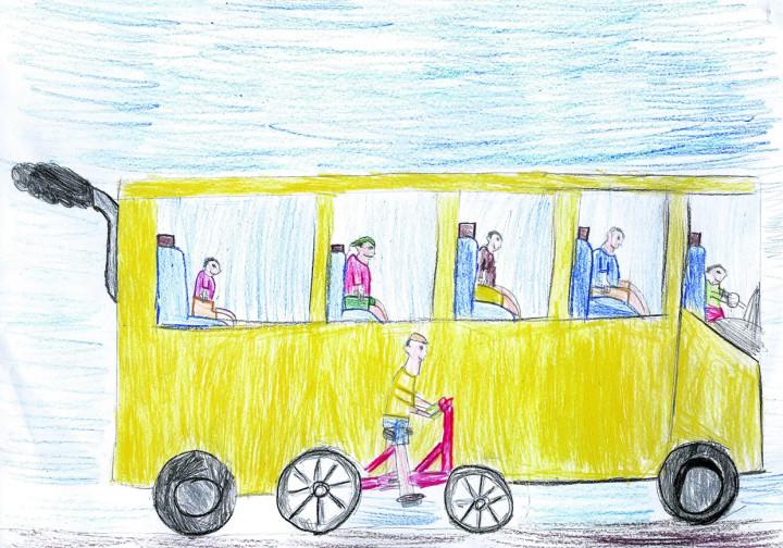 Um dos desenhos apresentando solução para poluição