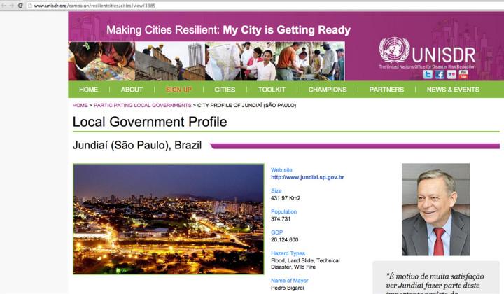 Jundiaí ganhou um perfil completo no site da ONU