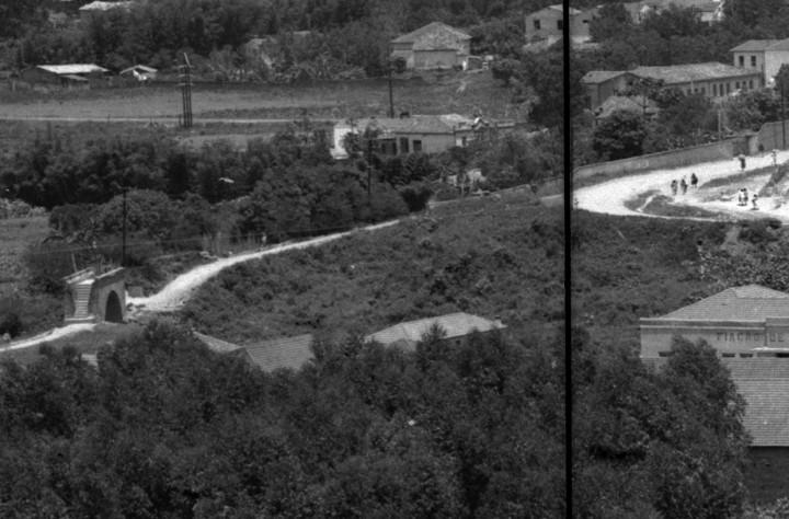 Imagem do caminho ligado à Ponte Torta, de 1888, na primeira metade do século 20