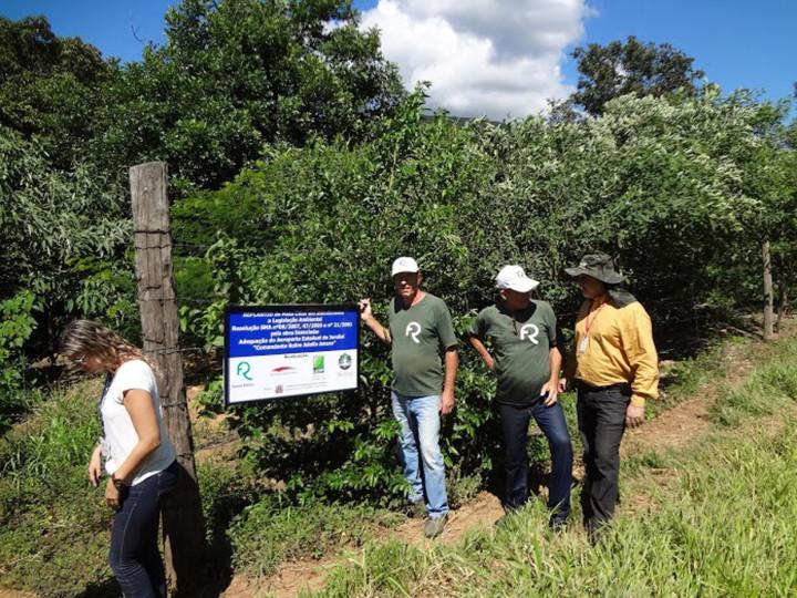 A equipe em visita técnica ao projeto: borda da serra sendo renaturalizada