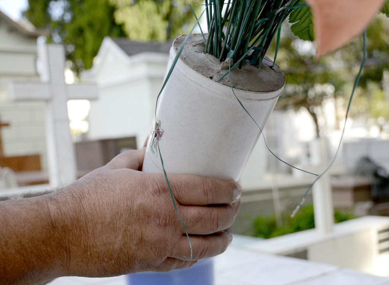 Visitantes são orientados a colocar cimento em vasos de plantas artificiais