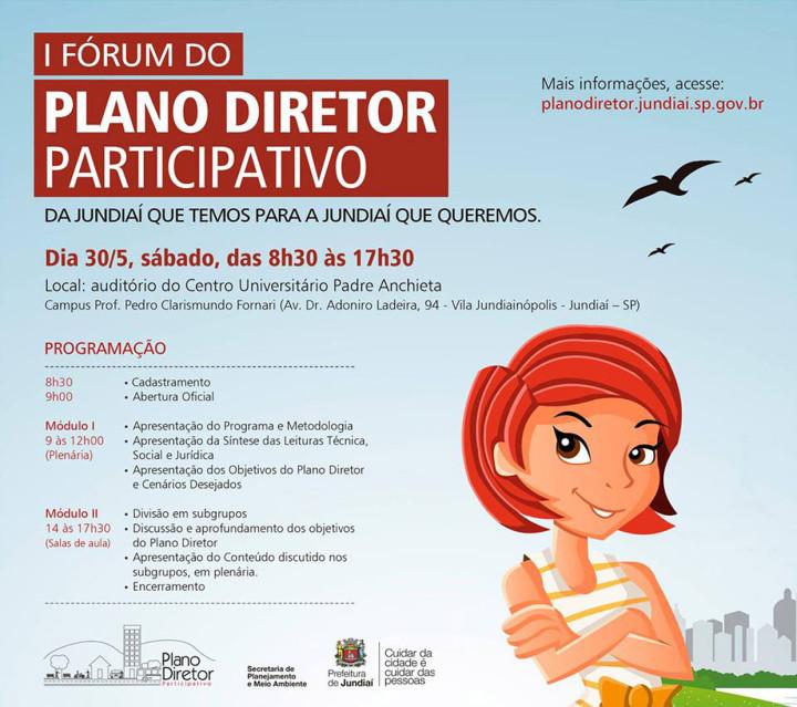 O 1º Fórum do Plano Diretor Participativo está marcado para este sábado (30), a partir das 8h30