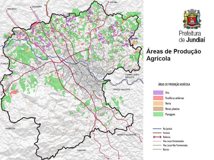 Mapeamento coincide boa parte das áreas agrícolas com áreas de mananciais de água