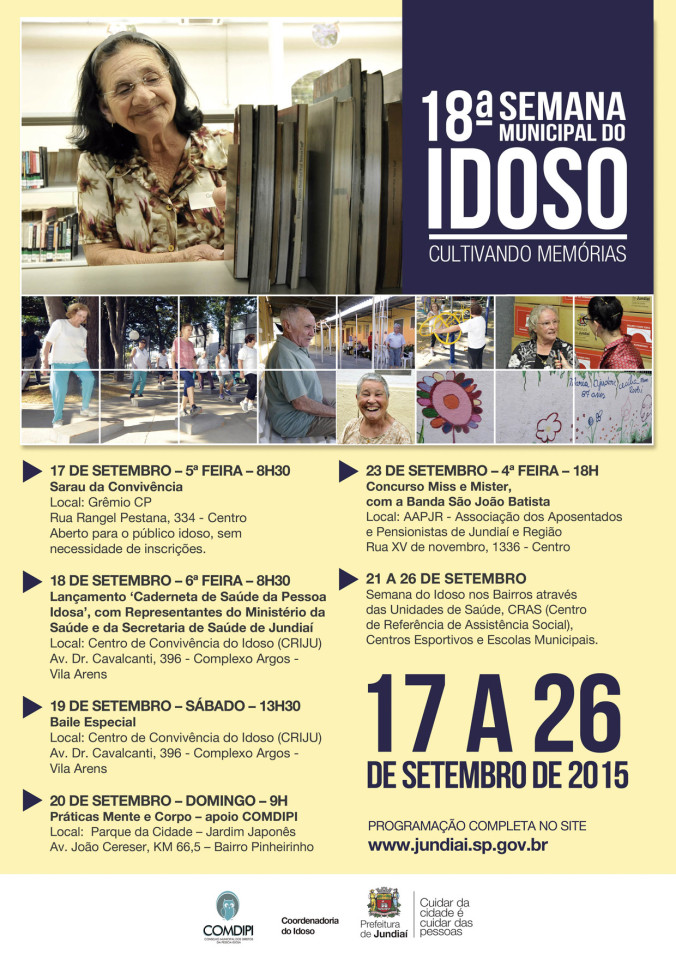 Semana do Idoso vai de 17 a 26 de setembro
