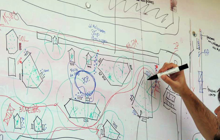 """As observações dos participantes e voluntários são reunidas em um """"mapa"""" de observação da praça"""