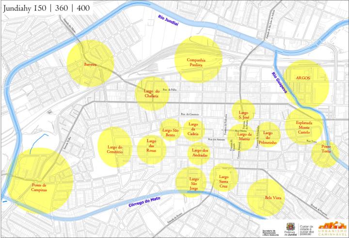 Mapa histórico-afetivo do centro ampliado, no projeto Urbanismo Caminhável