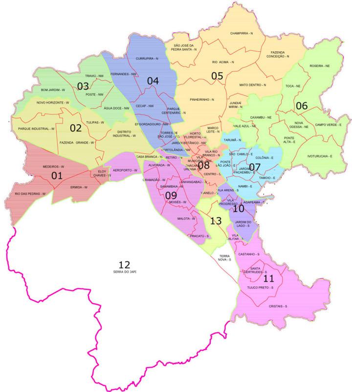 Mapa das regiões que vão eleger delegados durante o 2º Fórum do Plano