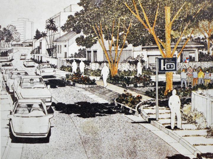 Imagem ilustrativa de bairro com praças de reorientação de trânsito