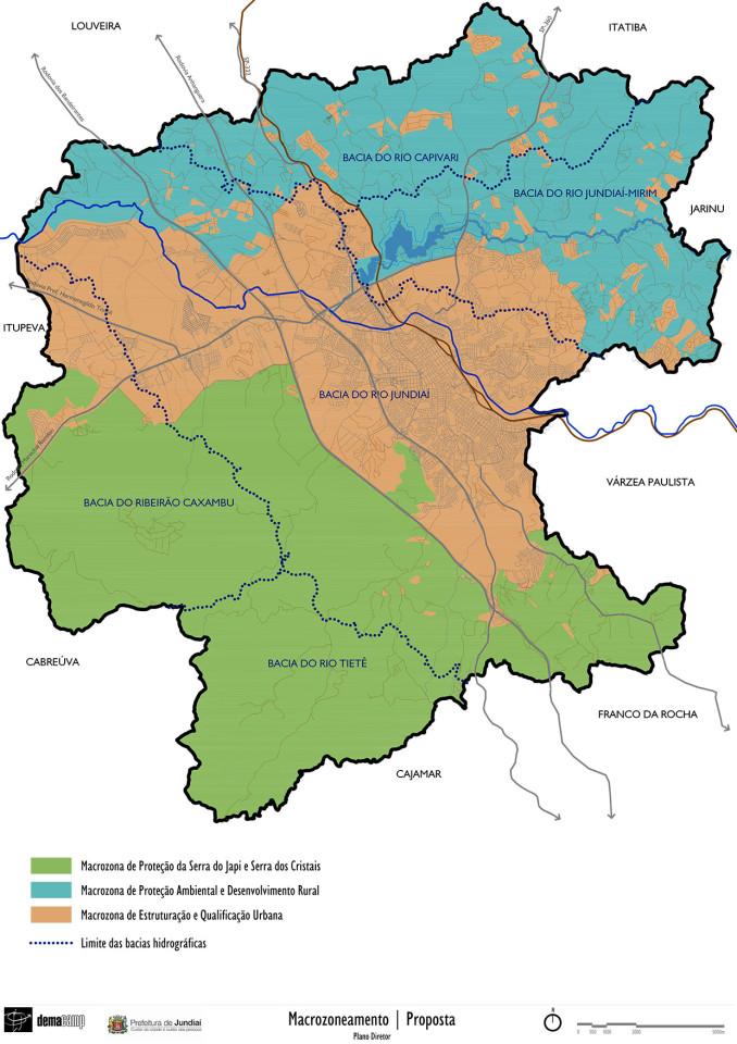 Mapa proposto com macrozonas de desenvolvimento rural, urbana e de proteção das serras