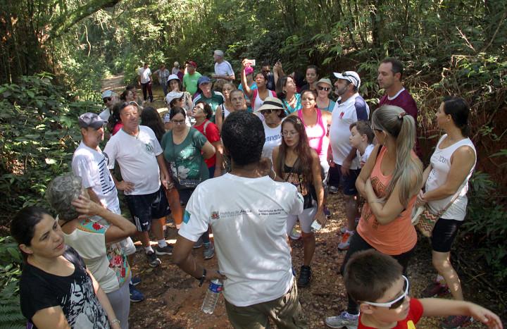 Grupos percorrem uma trilha de curta extensão