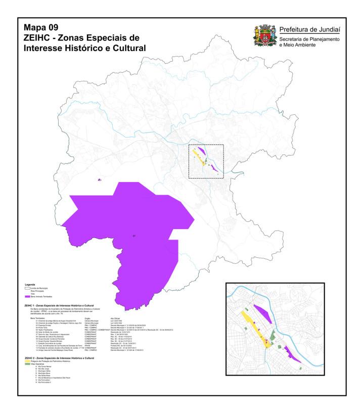 Mapa das Zonas Especiais de Interesse Histórico e Cultural