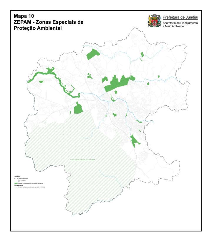 Mapa das Zonas Especiais de Proteção Ambiental