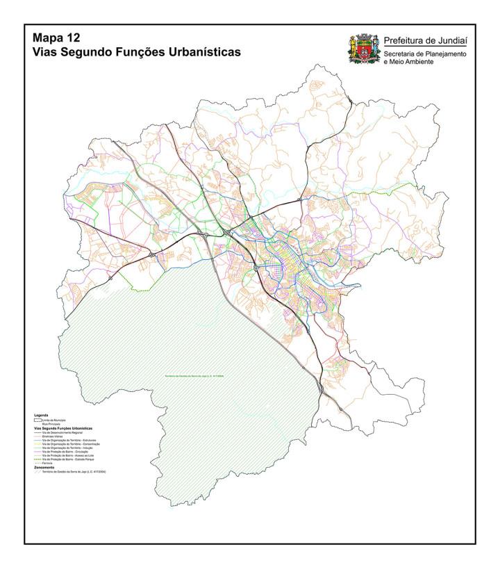 A rede de vias por função urbanística colocada no Plano Diretor