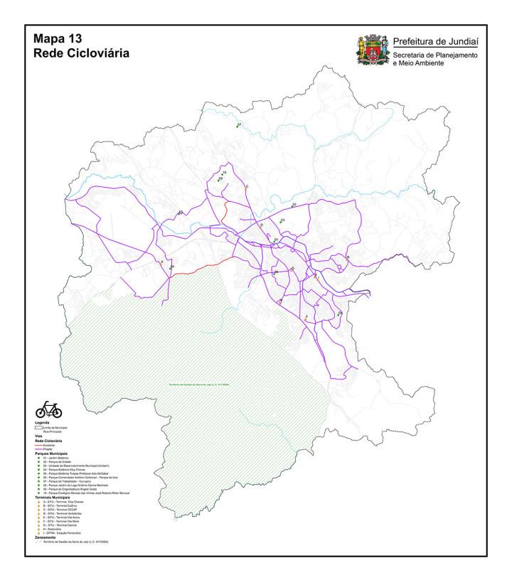 A orientação da rede cicloviária, orientada por terminais e parques