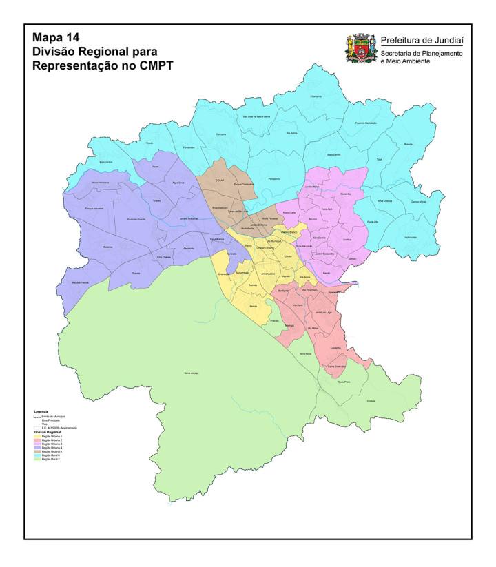 Mapa de regiões para futuro conselho, em linha com conceitos do Plano
