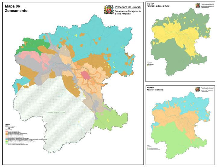 Confira os mapas de perímetro urbano e rural, de macrozoneamento e zoneamento
