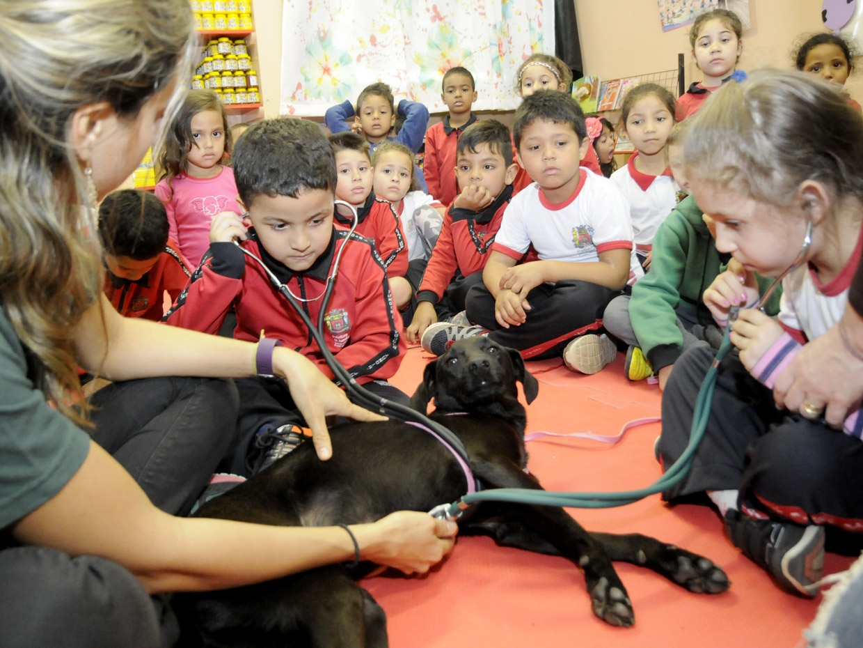 Crianças aprendem sobre guarda responsável de animais na Emeb Owen Zillo