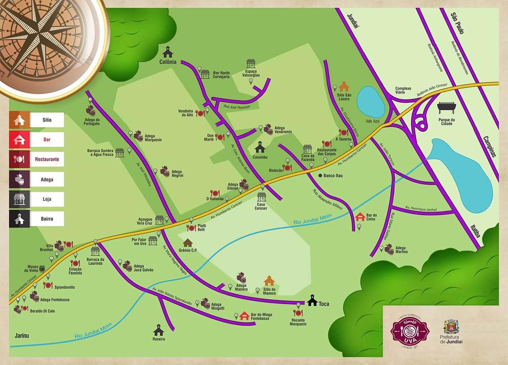 Mapa inicial da Rota Turística da Uva, uma das quatro em andamento