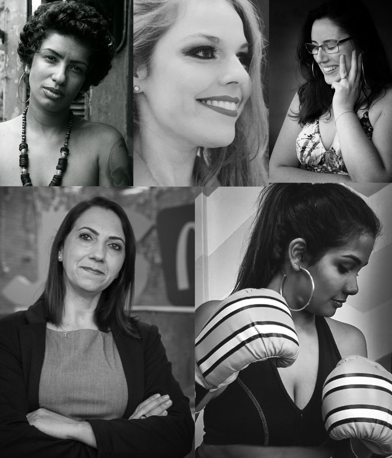Mosaico com fotos em preto e branco de mulheres