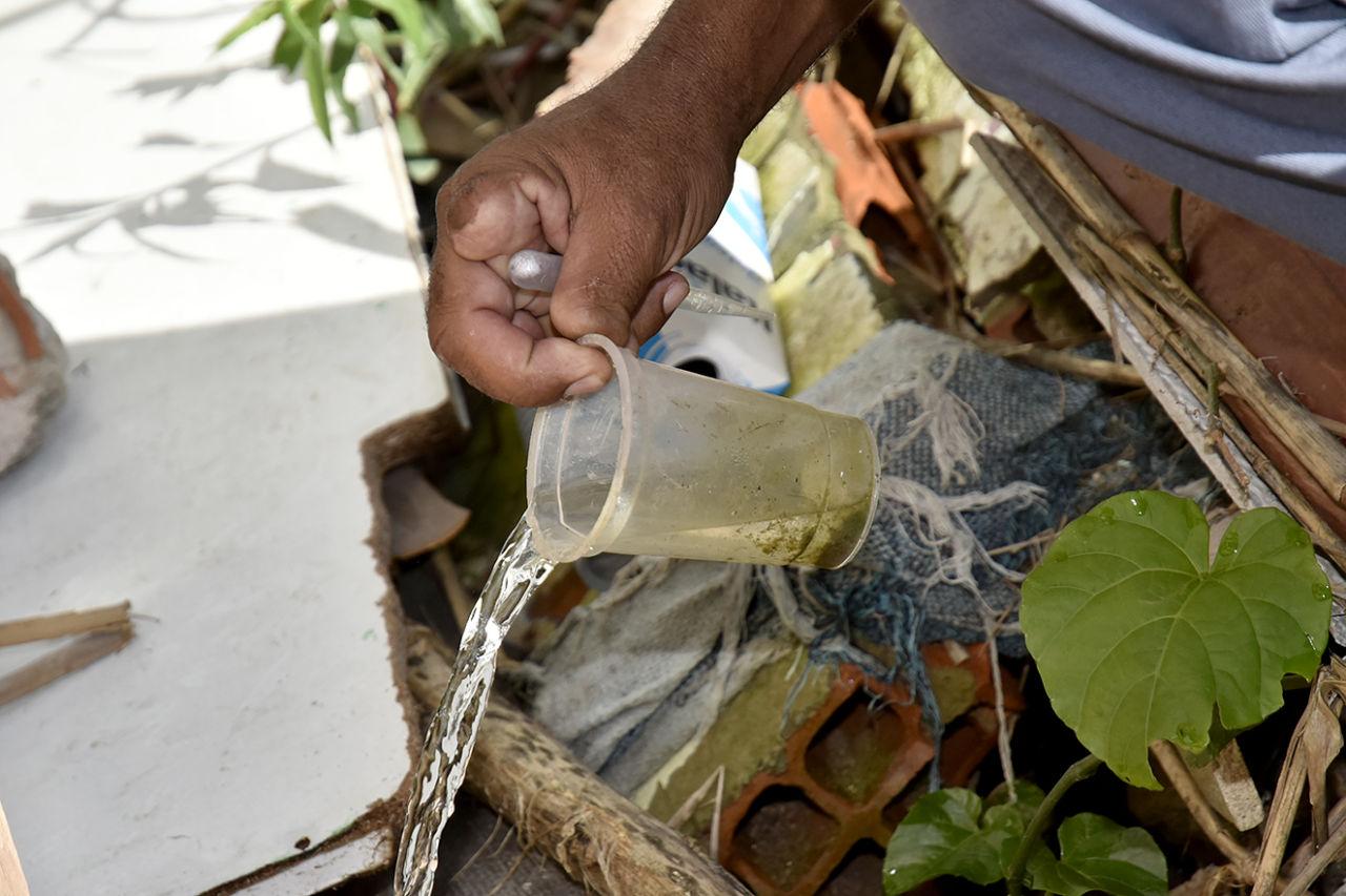 Mão segurando recipiente com água sendo despejada