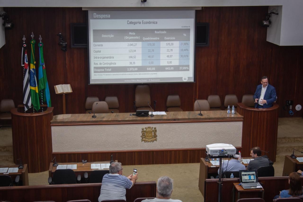 Gestor, no púlpito, apresenta dados para vereadores