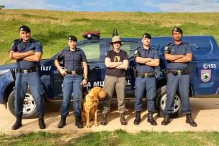 Foto posadas de guardas com cão de trabalho em frente à viatura