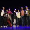Foto posada de premiados e funcionários da Cultura, com a bailarina Ana Botafogo, no palco do Teatro Polytheama