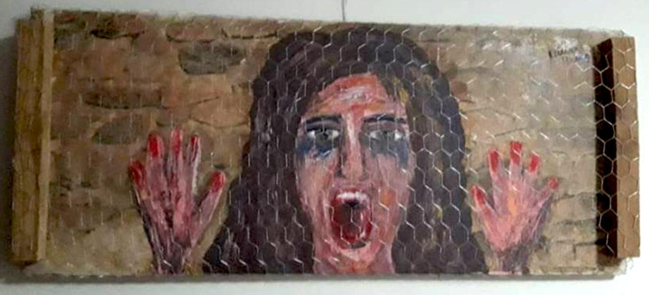 Pintura de figura feminina gritando, com as mãos para o alto