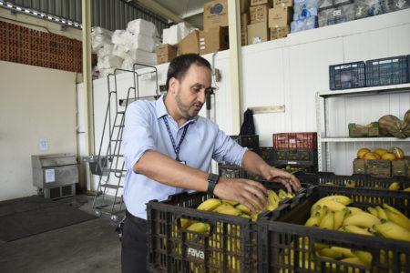 Homem seleciona bananas em caixas empilhadas