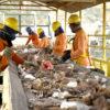 Funcionários separam pedaços do lixo de construção civil