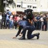 Homem fardado em performance com cão que salta pelas suas costas, em praça, com espectadores em pé ao redor, isolados por cordão