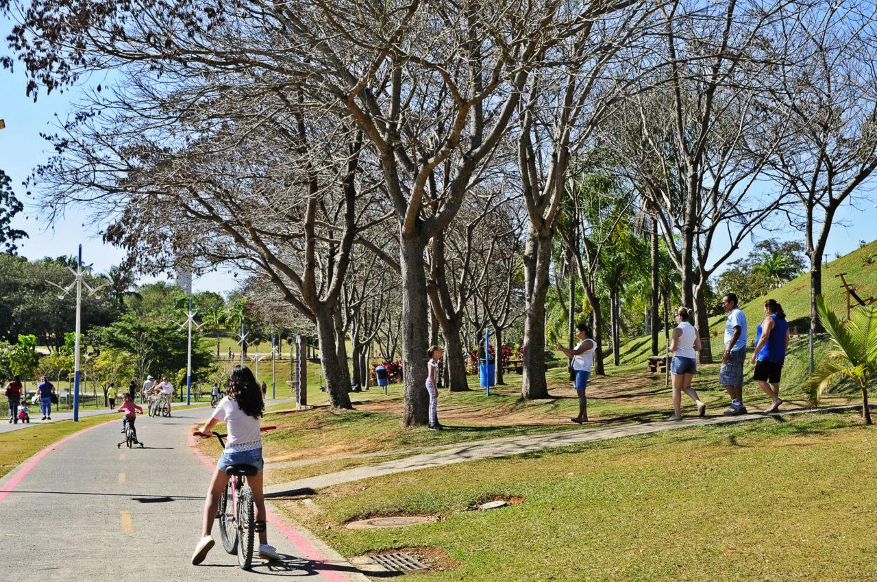 Pista de corridas de parque arborizado, com menina de costas andando de bicicleta