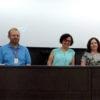 Vitor Cesar Martins (esq.), a presidente aclamada Márcia Torolio e a vice-presidente Sílvia Merlo