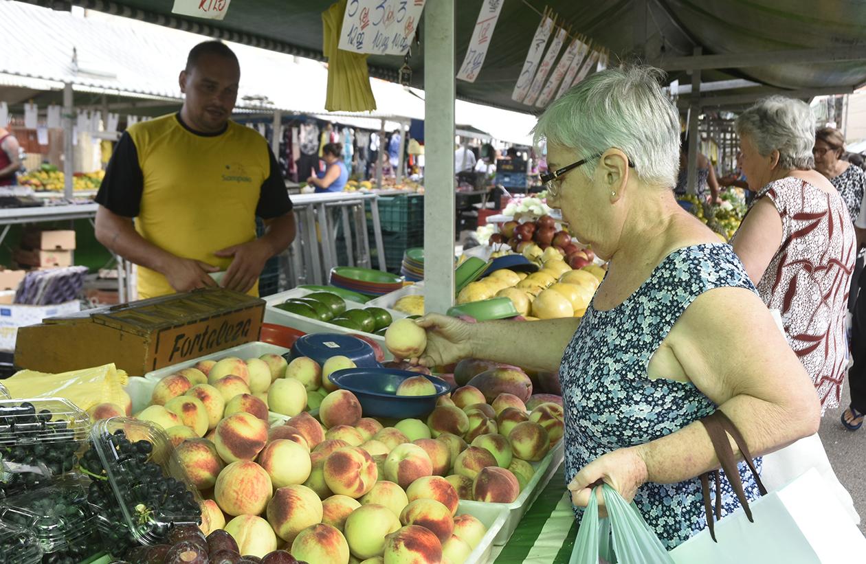 Mulher idosa escolhe pêssegos em barraca de frutas em feira