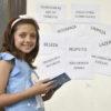 Bianca confere anotações na frente dos temas mais importantes, que foram fixados na parede