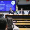 Plenário com pessoas assistindo, de costas, e três homens sentados à frente apresentando