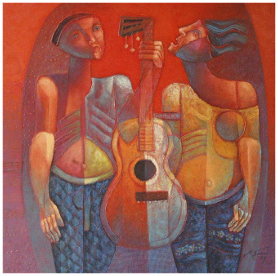Pintura com duas figuras humanas segurando um violão entre elas