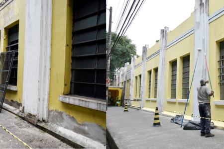 Montagem com duas fotos, comparando antes e depois de pintura em parede