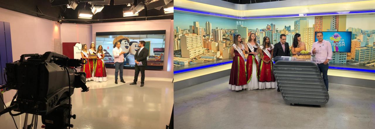 Fotos de dois estúdios de televisão com apresentadores e mulheres com traje de gala