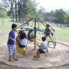 Crianças brincando em gira-gira em meio a um parque com gramado e árvores
