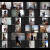 Mosaico com transmissões por webcam de pessoas dançando