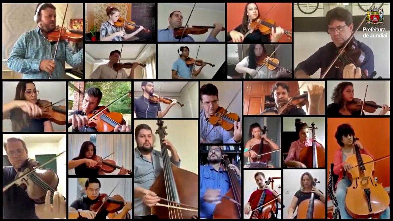 Mosaico de pessoas tocando instrumentos como viola, violino e violoncelo