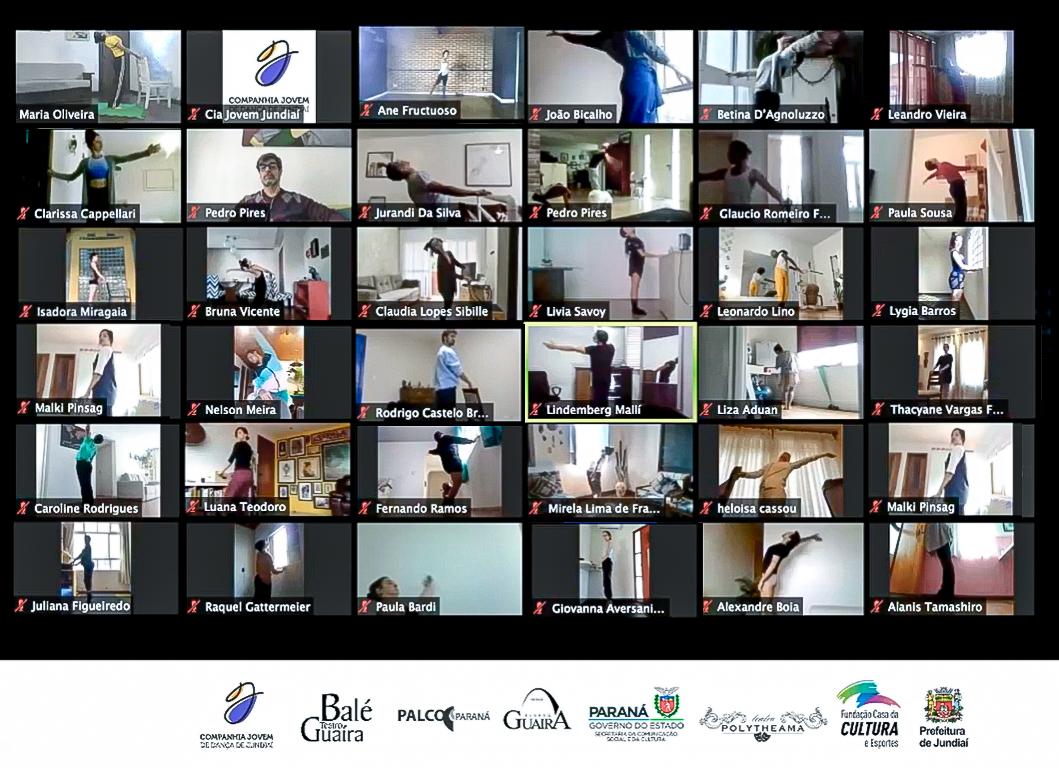 Mosaico de capturas de tela, com pessoas em pose de dança