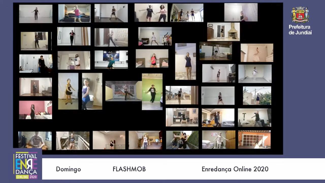 Mosaico de telas com pessoas realizando performance