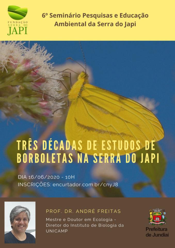 Professor André Freitas, da Unicamp, falará na terça (16) das três décadas de estudos de borboletas na Serra do Japi