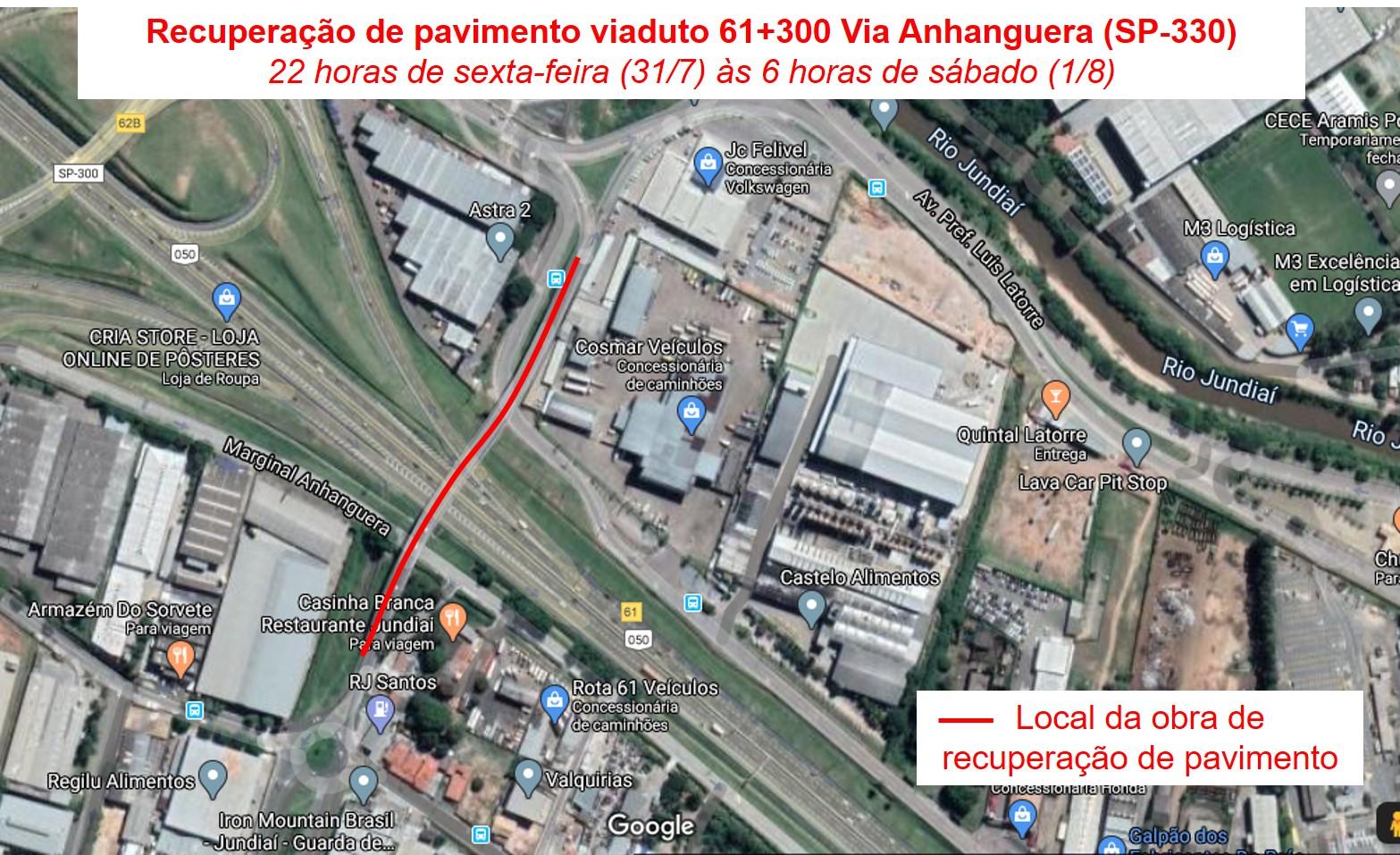 Obra vai interditar viaduto da Anhanguera até 6h deste sábado (1º)